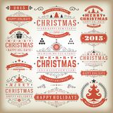Elementos do projeto da decoração do Natal Fotos de Stock