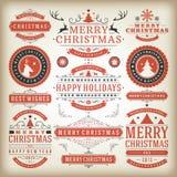 Elementos do projeto da decoração do Natal Fotos de Stock Royalty Free