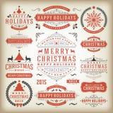 Elementos do projeto da decoração do Natal Fotografia de Stock