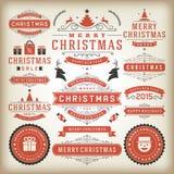 Elementos do projeto da decoração do Natal Fotografia de Stock Royalty Free