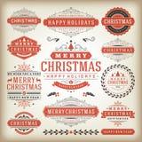 Elementos do projeto da decoração do Natal Foto de Stock