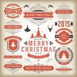 Elementos do projeto da decoração do Natal Imagens de Stock Royalty Free