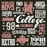 Elementos do projeto da equipe do rugby da faculdade Imagem de Stock Royalty Free