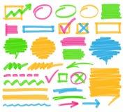 Elementos do projeto da marcação do highlighter Imagem de Stock Royalty Free