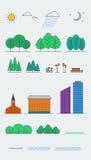 Elementos do projeto da paisagem da cidade estilo linear Ilustração do vetor Imagem de Stock