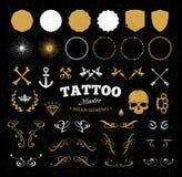 Elementos do projeto da tatuagem Fotografia de Stock Royalty Free