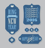 Elementos do projeto da tipografia do vintage das etiquetas do ano novo feliz 2016 Fotos de Stock Royalty Free