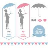 Elementos do projeto do chuveiro de bebê ilustração stock
