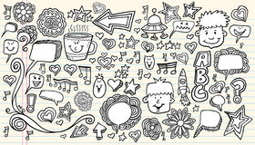 Elementos do projeto do esboço do Doodle do caderno Foto de Stock