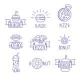 Elementos do projeto do fast food do vetor estilo linear Emblemas do esboço Fotografia de Stock Royalty Free