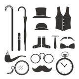 Elementos do projeto do material dos cavalheiros Fotos de Stock