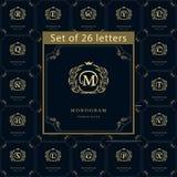 Elementos do projeto do monograma, molde gracioso Grupo de emblema das letras Linha elegante caligráfica projeto do logotipo da a ilustração royalty free