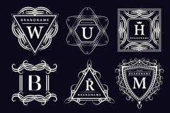 Elementos do projeto do monograma, molde gracioso Linha elegante caligráfica projeto do logotipo da arte Letras do emblema Sinal  ilustração royalty free