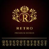 Elementos do projeto do monograma, molde gracioso Linha elegante projeto do logotipo da arte Foto de Stock