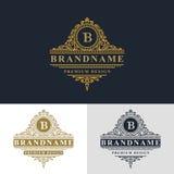 Elementos do projeto do monograma, molde gracioso Linha elegante projeto do logotipo da arte Frame bonito Letra B do emblema do o Imagem de Stock Royalty Free
