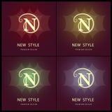 Elementos do projeto do monograma, molde gracioso Linha elegante projeto do logotipo da arte Letra N emblema Ilustração do vetor Imagens de Stock Royalty Free