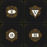Elementos do projeto do monograma, molde gracioso Linha elegante projeto do logotipo da arte Letra R do emblema, V, B, M Insígnia ilustração do vetor