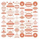 Elementos do projeto do vetor das decorações do Natal Fotos de Stock Royalty Free