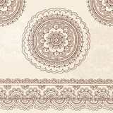 Elementos do projeto do vetor do Doodle da mandala de Mehndi do Henna Fotos de Stock