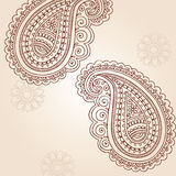 Elementos do projeto do vetor do Doodle de Mehndi Paisley do Henna ilustração royalty free