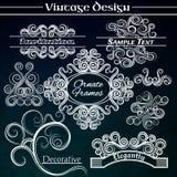Elementos do projeto do vintage do vetor no fundo escuro Fotografia de Stock Royalty Free
