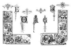 Elementos do projeto do vintage em um fundo branco Fotografia de Stock Royalty Free