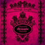 Elementos do projeto do vintage em um fundo cor-de-rosa Foto de Stock