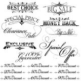 Elementos do projeto do vintage para o texto da venda Imagens de Stock Royalty Free