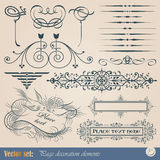 Elementos do projeto e decoração caligráficos da página Fotos de Stock