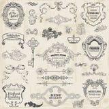 Elementos do projeto e decoração caligráficos da página Fotografia de Stock