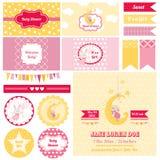 Elementos do projeto - festa do bebê Bunny Theme ilustração stock