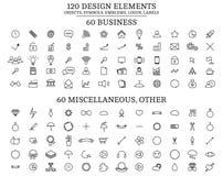 120 elementos do projeto, objetos, símbolos, emblemas, logotipos, etiquetas Imagens de Stock Royalty Free