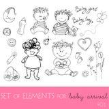Elementos do projeto para a chegada do bebê Fotografia de Stock