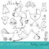 Elementos do projeto para o cartão de chegada do bebê Fotografia de Stock Royalty Free