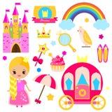 Elementos do projeto do partido da princesa das crianças Etiquetas, clipart para meninas Transporte, castelo, arco-íris e outros  Fotografia de Stock