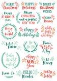 Elementos do projeto do vetor do Natal ilustração royalty free