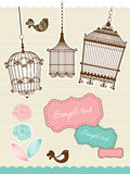 Elementos do Scrapbook com birdcage do vintage Imagem de Stock Royalty Free