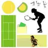 Elementos do tênis ilustração stock
