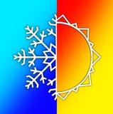 Elementos do tempo - verão Sun e neve do inverno Imagens de Stock Royalty Free