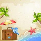 Elementos do verão com mala de viagem, mar e árvores do vintage Fotografia de Stock