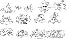 Elementos do verão da coloração Imagem de Stock
