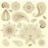 Elementos do vetor da garatuja da tatuagem da hena Foto de Stock Royalty Free