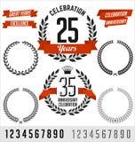 Elementos do vetor do aniversário Preto com fita vermelha Imagem de Stock