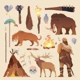 Elementos do vetor Homem primitivo Idade da Pedra Foto de Stock Royalty Free
