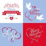 Elementos do vetor no dia de Valentim Foto de Stock Royalty Free