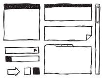 Elementos do Web do Doodle Foto de Stock