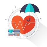 """Elementos dos gráficos da informação cuidados médicos do †do conceito do seguro de saúde dos """"em ícones lisos do estilo tais co ilustração royalty free"""