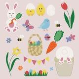 Elementos e ícones da Páscoa ajustados ilustração stock