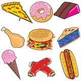 Elementos e iconos de Clipart de la comida basura Imagen de archivo libre de regalías