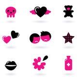 Elementos e iconos del diseño de Emo Imágenes de archivo libres de regalías